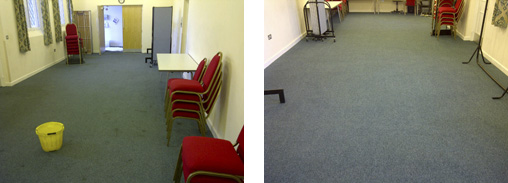 Community Hall Carpet Before and After